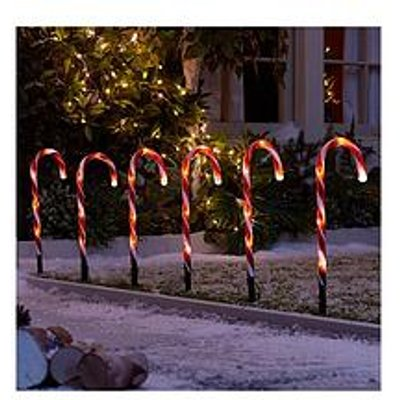 Candy Cane Garden Stake Light Outdoor Christmas Decorations (Set Of 6)
