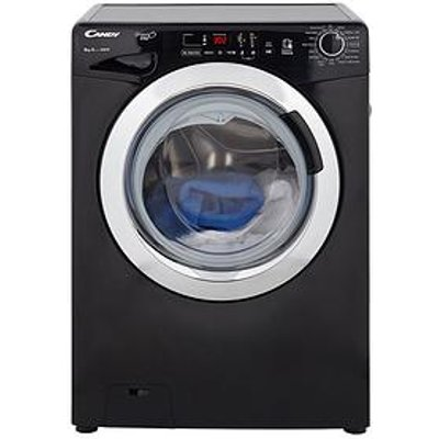 Candy Grand'O Vita Gvs148Dc3B 8Kg Load, 1400 Spin Washing Machine With Smart Touch - Black/Chrome