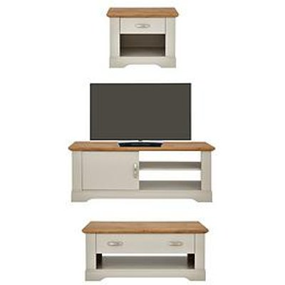Cornwall 3 Piece Package &Ndash; Tv Unit, Coffee Table And Lamp Table - Grey/Oak Effect
