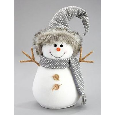 30Cm Grey Plush Snowman Christmas Decoration