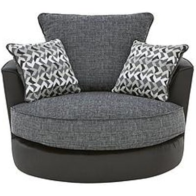 Geo Fabric And Faux Leather Swivel Chair