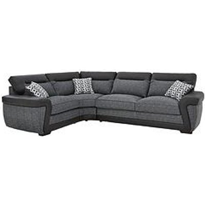 Geo Fabric And Faux Leather Left-Hand Corner Group Sofa Bed