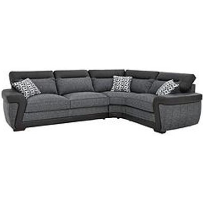 Geo Fabric And Faux Leather Right-Hand Corner Group Sofa Bed