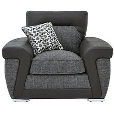 Geo Fabric And Faux Leather Armchair