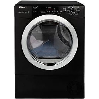 Candy Grand O Vita Gvsh9A2Dceb 9Kg Load, Heat Pump, Sensor Tumble Dryer With Smart Touch - Black/Chrome