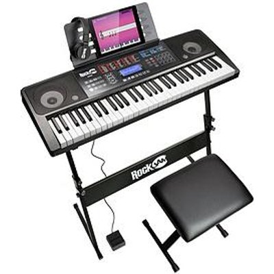 Rockjam Rj761-Sk Rockjam 61 Key Midi Keyboard Piano Kit With Keyboard Stand, Piano Stool, Sustain Pedal And Headphones