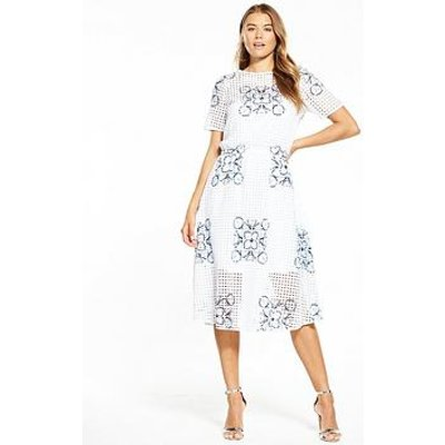 Boss Emare Floral Print Dress - White