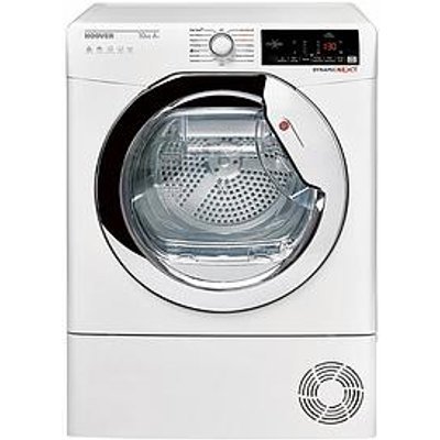Hoover Dxhy10A2Tce 10Kg Load, Aquavision, Heat Pump Tumble Dryer With One Touch -  White/Chrome