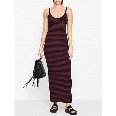 Mcq Alexander Mcqueen Bodycon Striped Dress - Black/Red