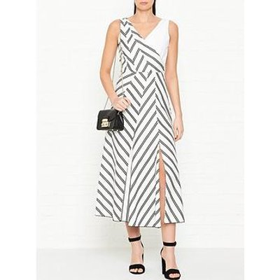 Sportmax Code Zenica Stripe Crossover Sleeveless Dress - White/Black