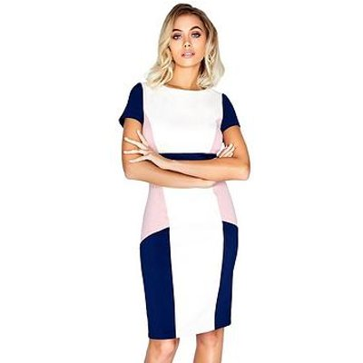 Paper Dolls Short Sleeve Colour Block Midi Dress