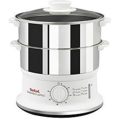 Tefal Vc145140 Convenient Series Steamer, 2 Durable Stainless Steel Bowls - White