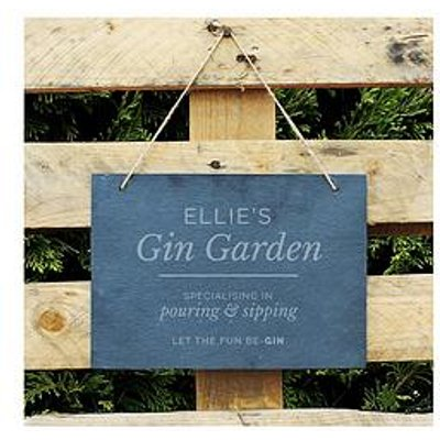 The Personalised Memento Company Personalised Gin Garden Large Hanging Slate Sign