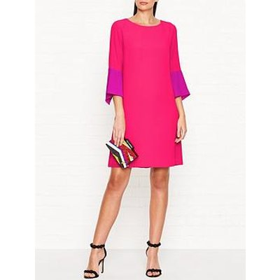 Ps Paul Smith Silk Blend 3/4 Sleeve Shift Dress - Pink