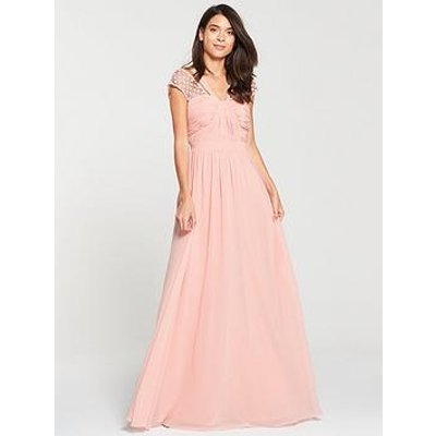 V By Very Bridesmaid Wrap Front Maxi Dress - Blush