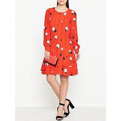 Hugo Klenani Floral Print Dress - Orange