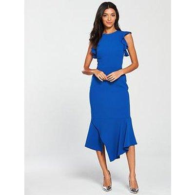 Karen Millen Fit And Flare Ruffle Dress - Blue