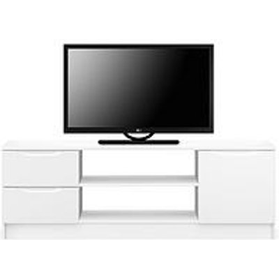 Ideal Home Bilbao Ready Assembled High Gloss Large Tv Unit - White - Fits Up To 65 Inch Tv
