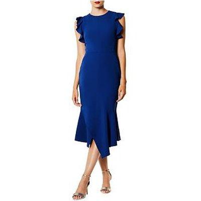 Karen Millen Ruffle Detail Midi Dress - Blue