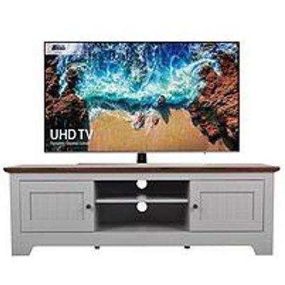 Devon Grey Tv Unit - Grey/Walnut Effect - Fits Up To 65 Inch Tv