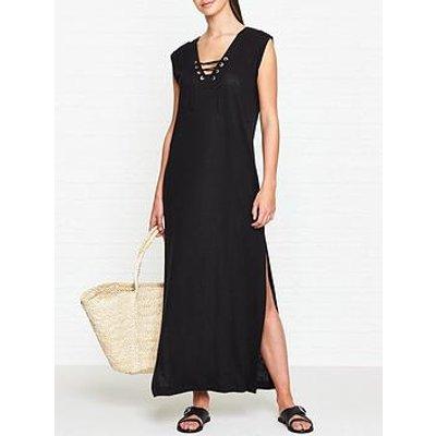 Seafolly Lace Up Jersey Maxi Dress - Black