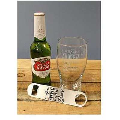 Personalised Ale Glass, Personalised Bottle Opener And Bottle Of Ale In A Gift Hamper