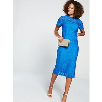 V By Very Occasion Lace Pencil Dress - Blue