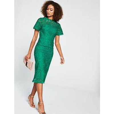 V By Very Occasion Lace Pencil Dress - Green