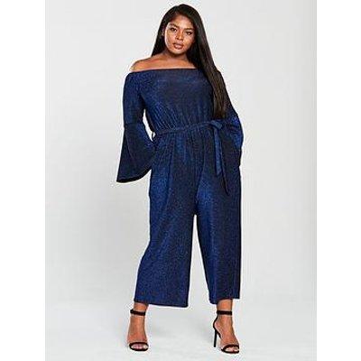 Ax Paris Curve Bardot Sparkle Wide Leg Jumpsuit - Blue
