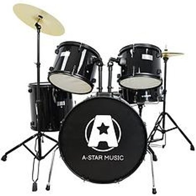 Rocket Rocket 5 Piece Rock Drum Kit In Black With Free Online Music Lessons