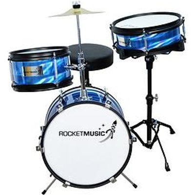 Rocket 3 Piece Junior Drum Kit - Blue With Free Online Music Lessons