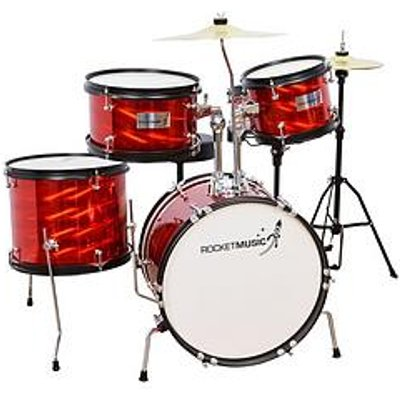 Rocket Music Rocket 5 Piece Junior Drum Kit - Red With Free Online Music Lessons