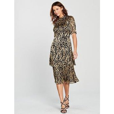 Whistles Ivanna Reed Devore Dress - Gold