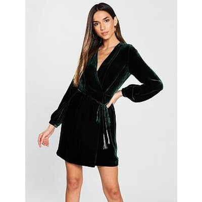 Whistles Lavone Wrap Velvet Dress - Green