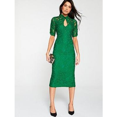 V By Very Ruched Lace Pencil Dress - Green