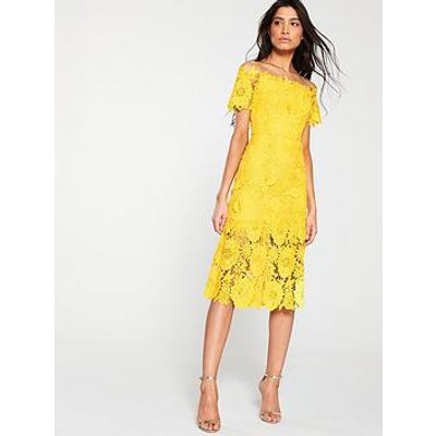 V By Very Guipure Lace Pencil Dress - Yellow