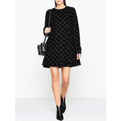 Mcq Alexander Mcqueen Babydoll Check Board Dress-Black