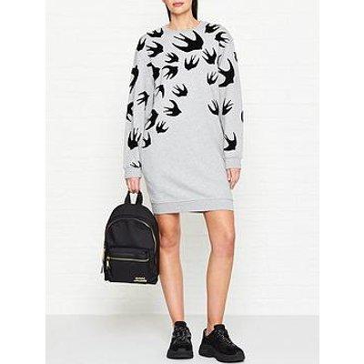 Mcq Alexander Mcqueen Flocked Swallow Print Sweatshirt Dress - Grey