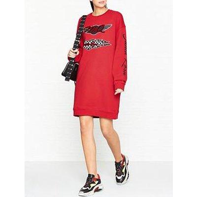 Mcq Alexander Mcqueen Slouchy Sweat Logo Dress- Red