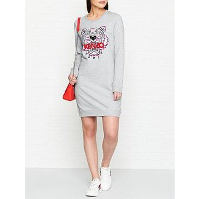 Kenzo Classic Tiger Head Sweatshirt Dress - Grey