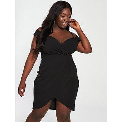 Ax Paris Curve Wrap Front Bodycon Dress - Black