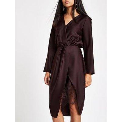 Ri Petite Wrap Front Dress - Plum