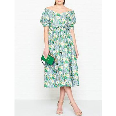 Perseverance London Flores Printed Linen Off Shoulder Midi Dress - Green