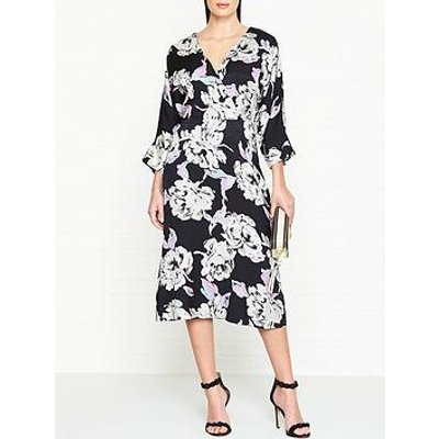 Gestuz Wrap Effect Floral Jacquard Dress - Black