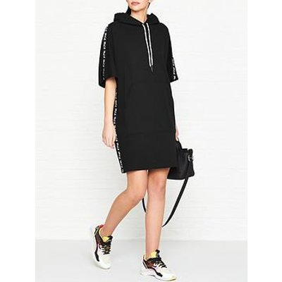 Mcq Alexander Mcqueen Logo Tape Hoodie Dress - Black