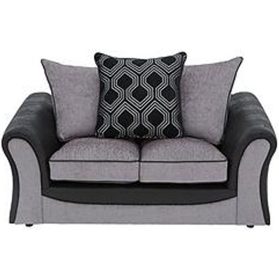 Milan Faux Leather And Fabric 2 Seater Scatter Back Sofa