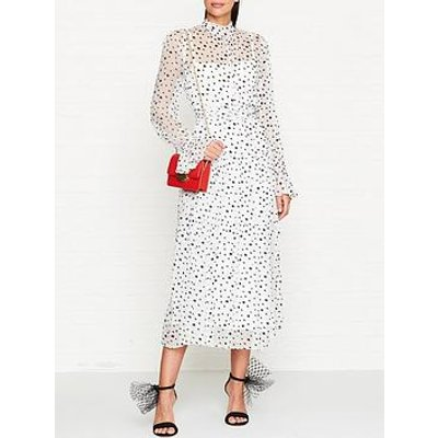 Bec & Bridge Ce'Cile Floral Print Midi Dress - White/Black