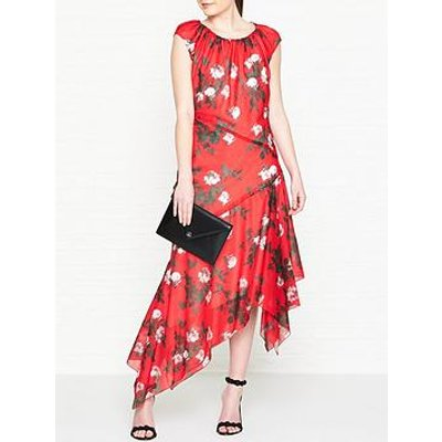 Hugo Kefesha Printed Asymmetric Hem Midi Dress - Red