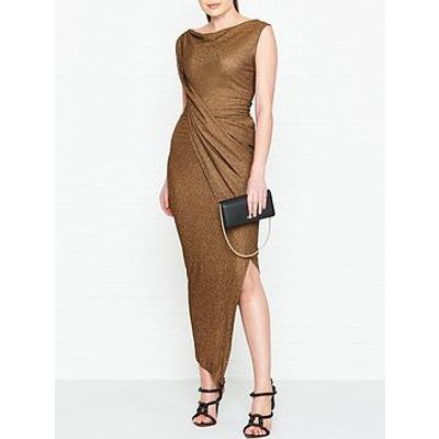 Vivienne Westwood Anglomania Vian Glitter Jersey Drape Dress - Copper
