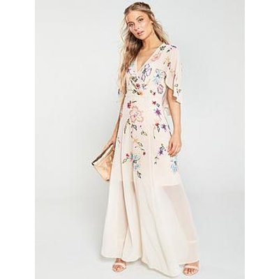 V By Very Embellished Cape Maxi Dress - Blush